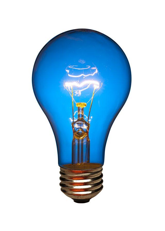 Blue lightbulb, isolated